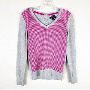 Tommy Hilfiger Pink & Gray Houndstooth Sweater